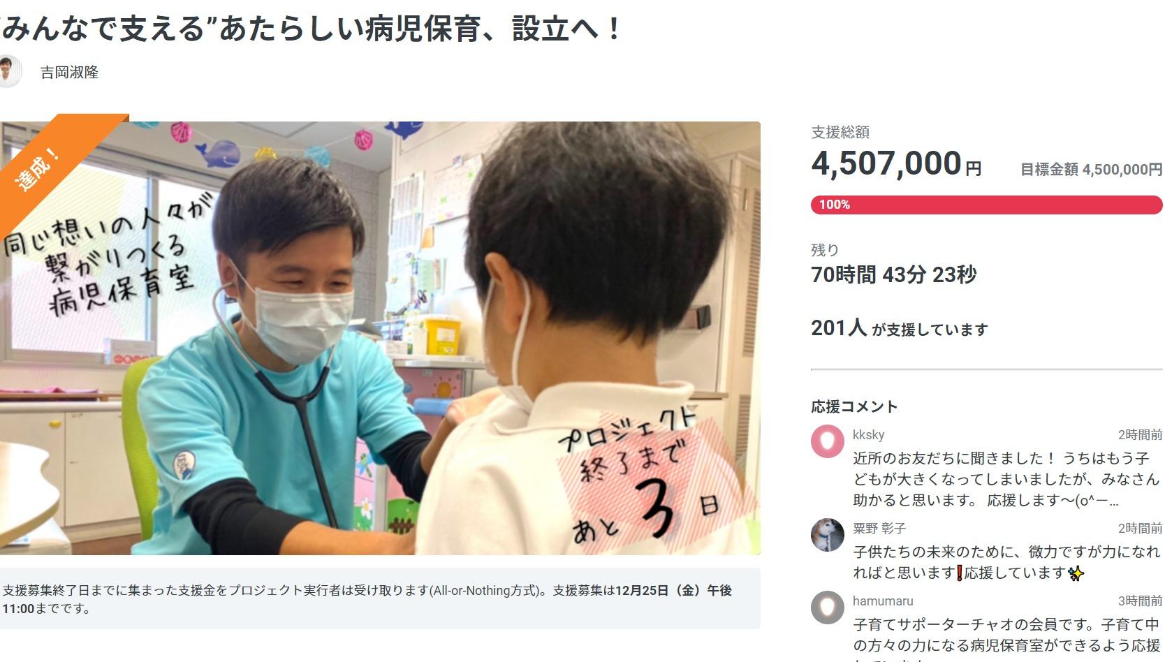 つむぎのおうちクラウドファンディング目標達成!
